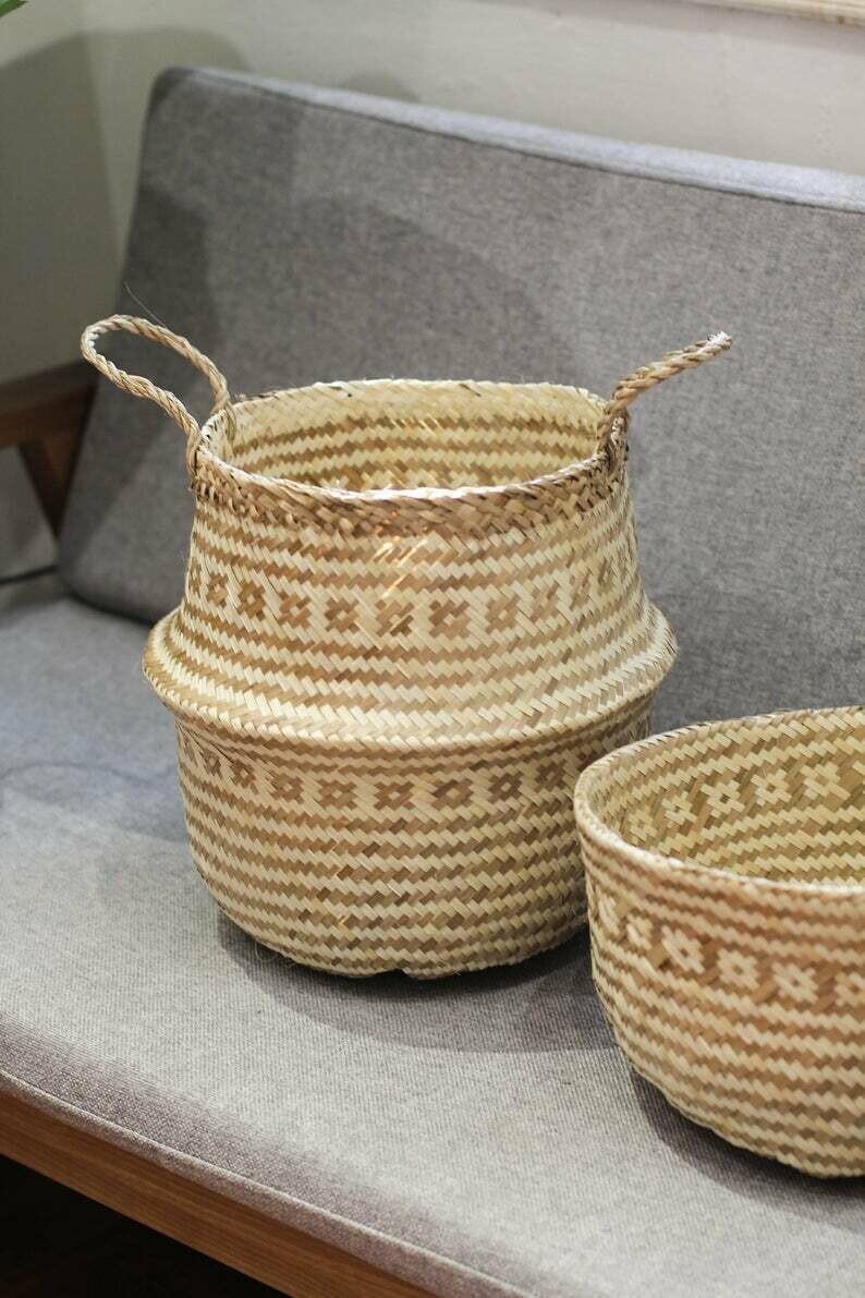 Floral Seagrass handmade basket