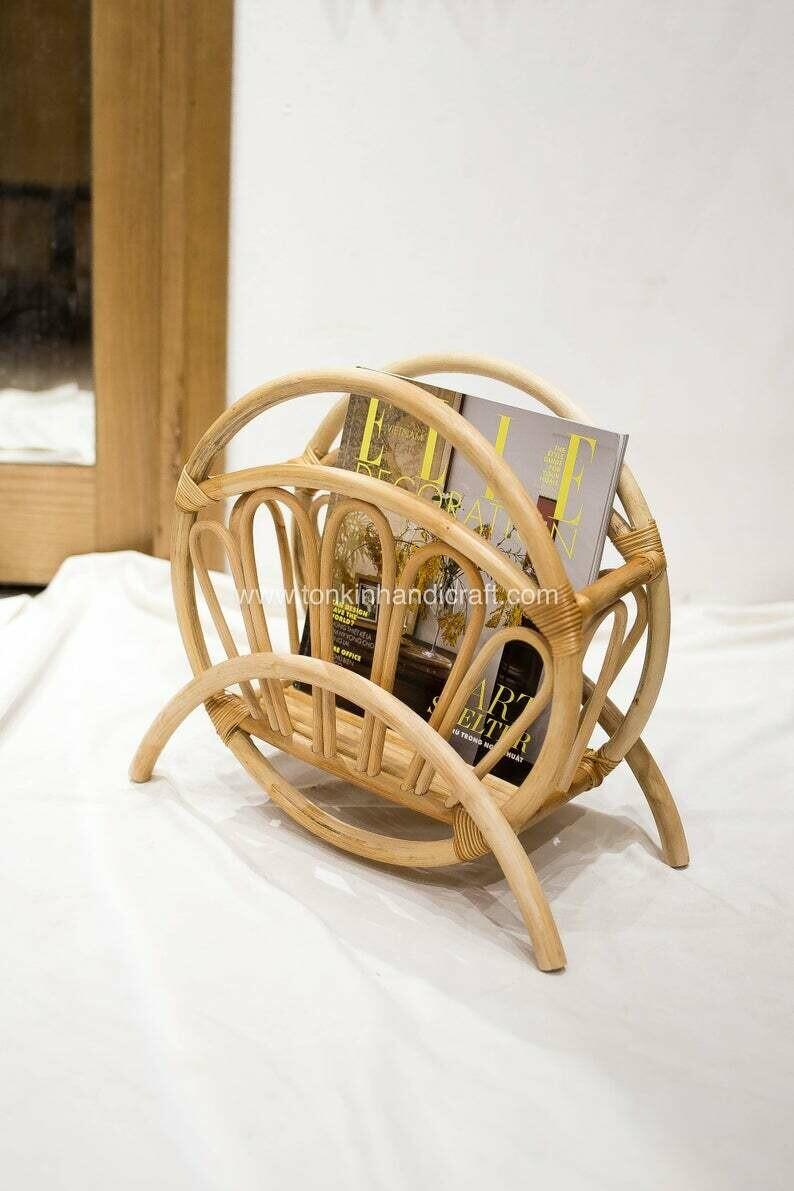 Rattan Magazine Holder,Storage Basket Books Stand