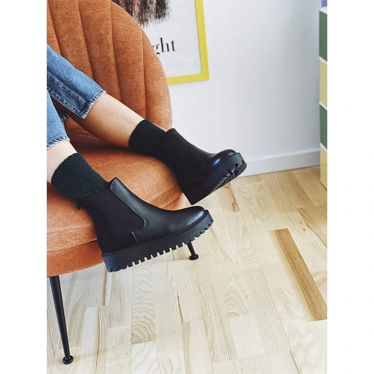 GARMENT PROJECT MINA CHELSEA BOOT - BLACK LEATHER