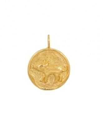 TAJ CHINESE ZODIAC PIG GOLD PLATED
