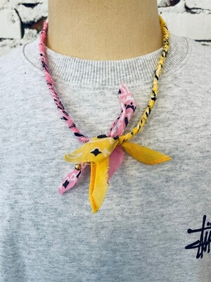 Saturdays & Sundays vintage necklace unisex - Yellow/Pink