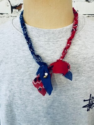 Saturdays & Sundays vintage necklace unisex - Navy / Red