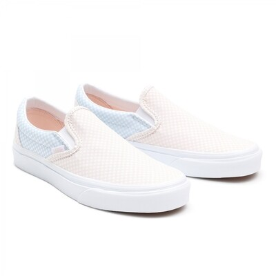 Vans Classic Slip-On (Pastel Checkerboard) Misty Blue/Silver Peony