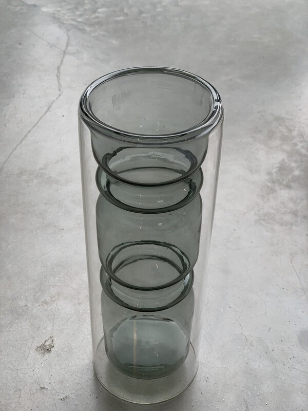 Double glass vase high