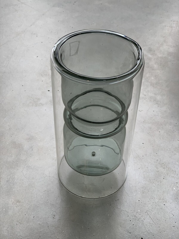 Double glass vase small