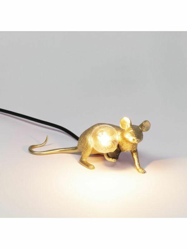 Tischleuchte Maus liegend - gold