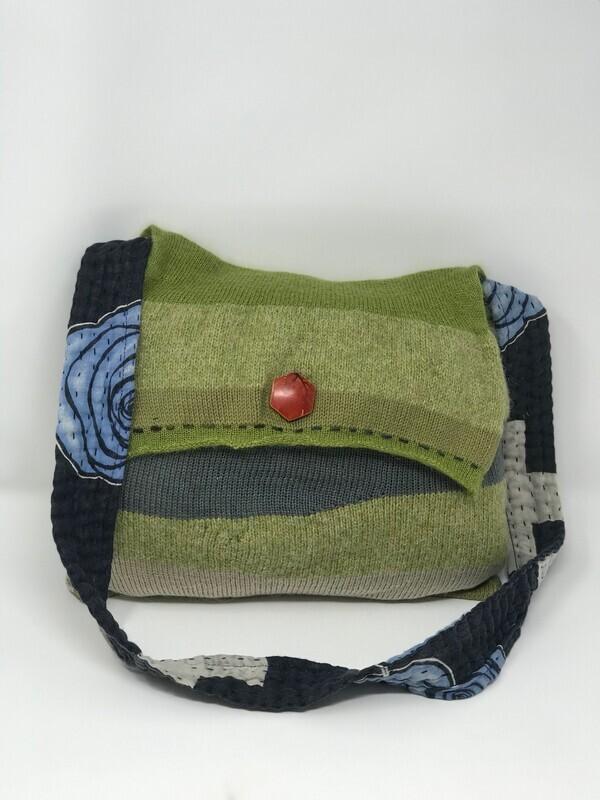 Tonal Green Large Hippy Shoulder Bag