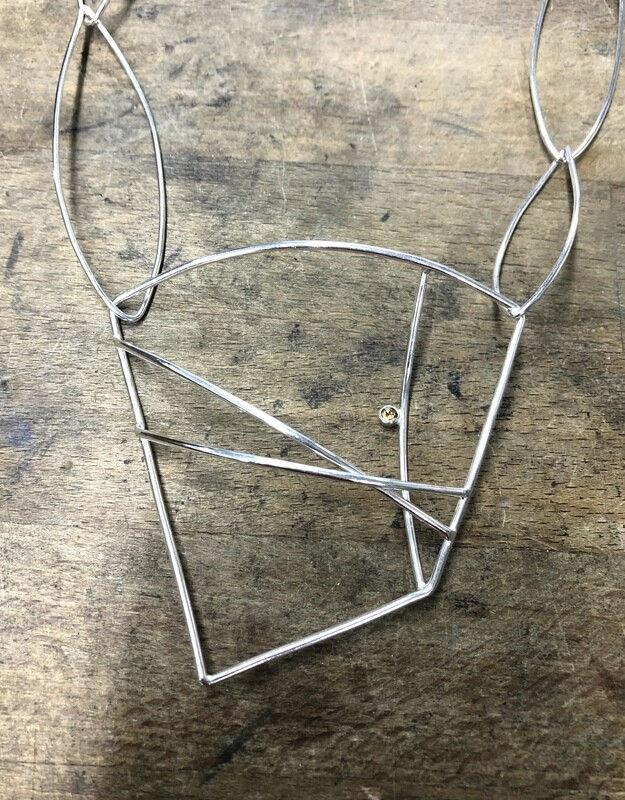 Sterling Silver Architectural Necklace