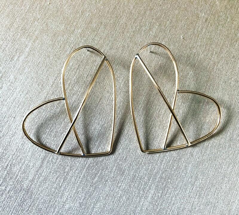 3D brass Heart earrings