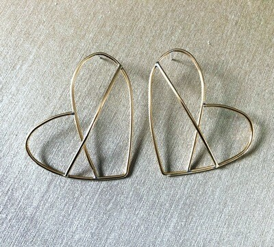 3D brass Heart earrings