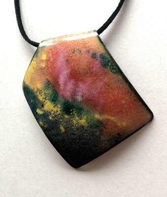 Enamel geometric abstract pendant