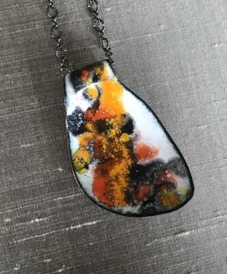 Leaf shape enamel pendant