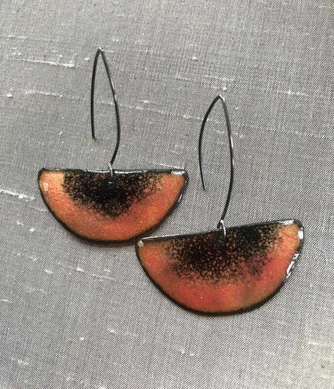 Enamel Pink Earrings