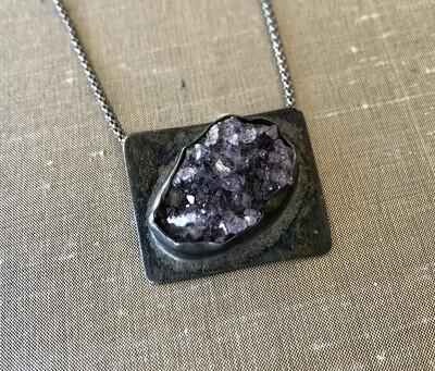 Amethyst Druzzy Sterling Silver Pendant