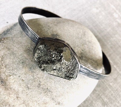 Sterling Silver Pyrite Bangle