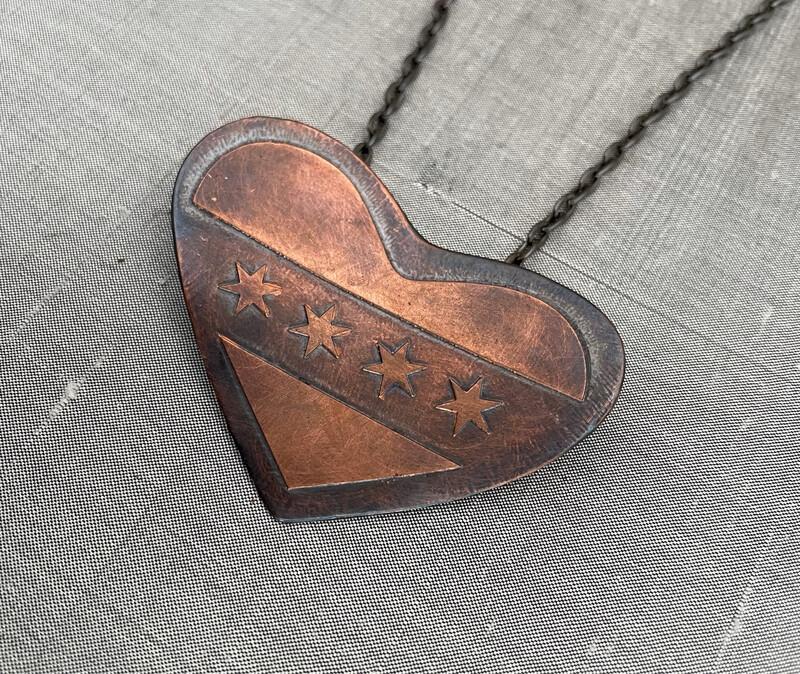 I Love Chicago Copper Pendant