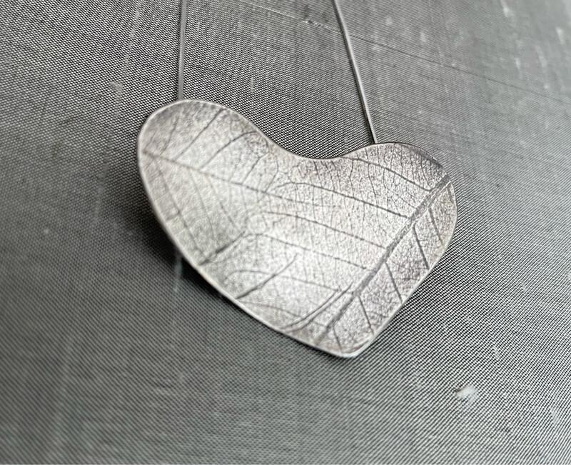 Leaf Heart Sterling Silver Pendant SOLD