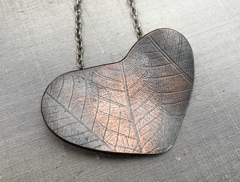 Leaf Texture Copper Heart