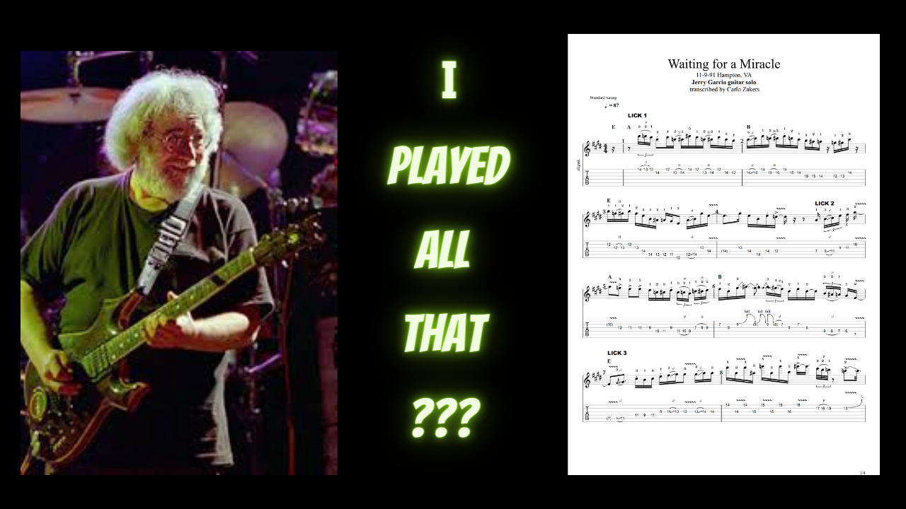 """""""Waiting on a Miracle"""" - Jerry Garcia Band - TAB for guitar solo 11-9-91 hampton, va"""