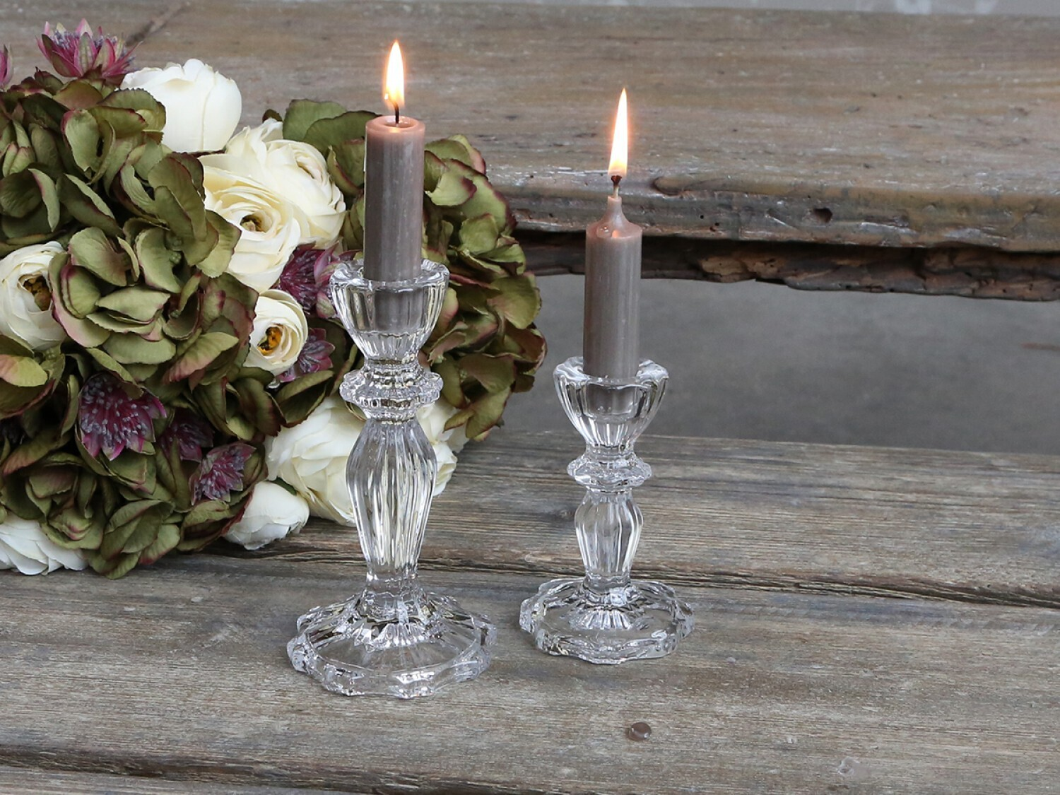 Clear Glass Candle Holders Small