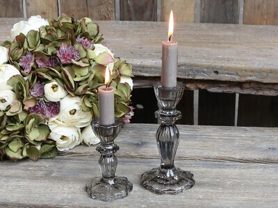 Gray Glass Candle Holders Small