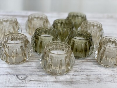 Votive Glass Green and Yellow