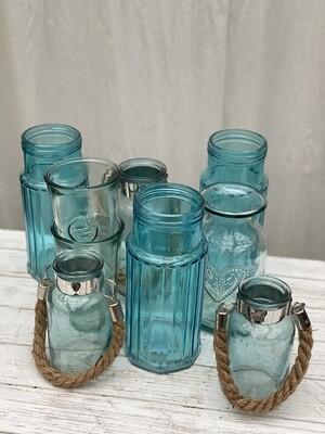 Glass Vases Blue assorted