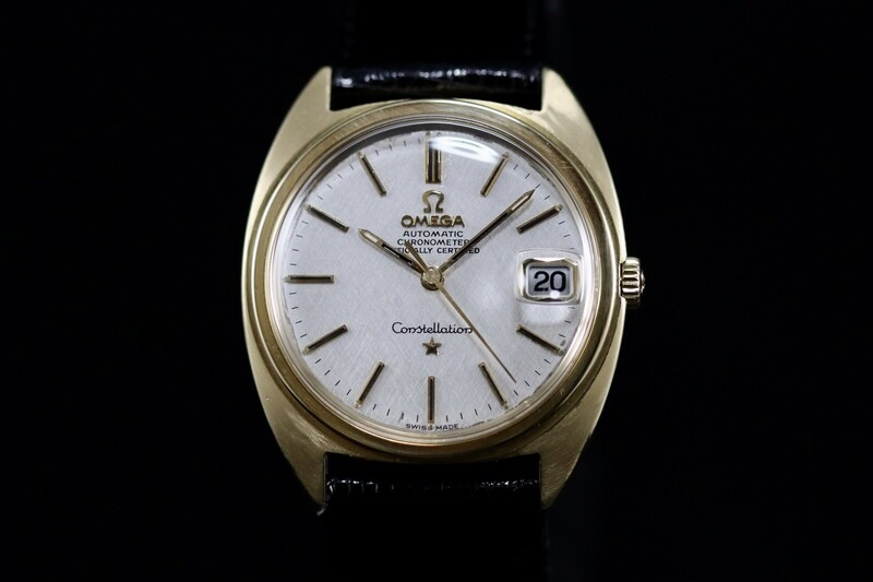 Omega Constellation Automatic Full Gold 18ct Linen Dial 168.009