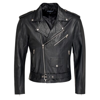 Bohmberg BRANDIDO Men's Leather Jacket made of soft Goat Nappa Leather in the classic Brando cut