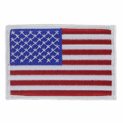 AMERICAN FLAG PATCH-WHITE BRDR