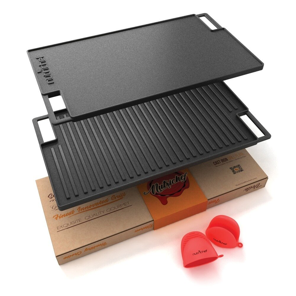 18 Inch Cast Iron Reversible Grill Plate - NutriChef