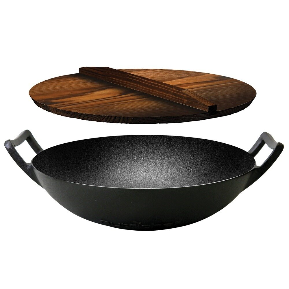 5.8 Quart Cast Iron Wok - NutriChef