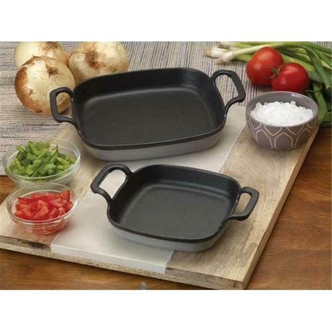 8.5 inch Enameled Cast Iron Baking Dish, Grey - Bayou