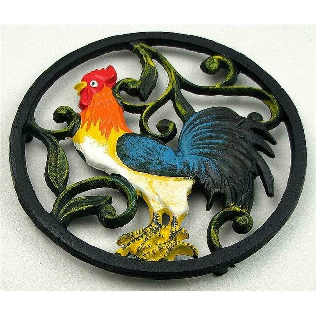 Cast Iron Colorful  Rooster Trivet - Old Mountain