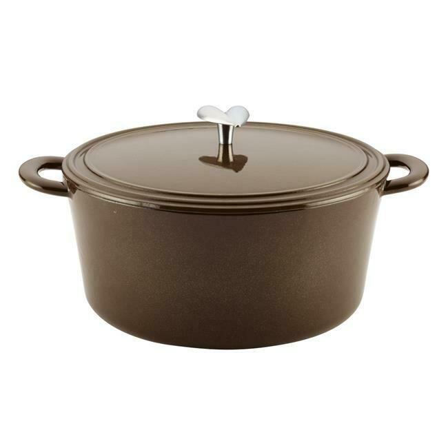 6 Quart Cast Iron Enamel Covered Dutch Oven, Brown Sugar - Ayesha Curry
