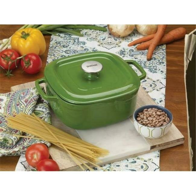 4 quart  Enameled Cast Iron Casserole Dish with Lid, Green - Klee