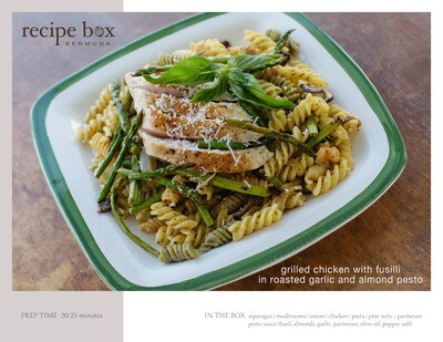 Grilled Chicken with Fusilli in Roasted Garlic & Almond Pesto