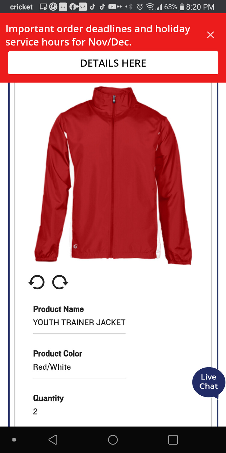 Youth trainer jacket