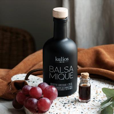 Lot de 10 bouteilles de 250 ml de vinaigre balsamique au pétimézi Kalios
