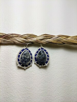Beaded Natural Stone Earrings