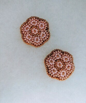 Beaded Dusty Pink & Gold Flowers