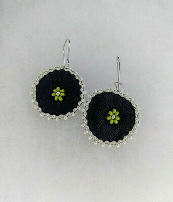 Beaded Green Floral Leather Danglers