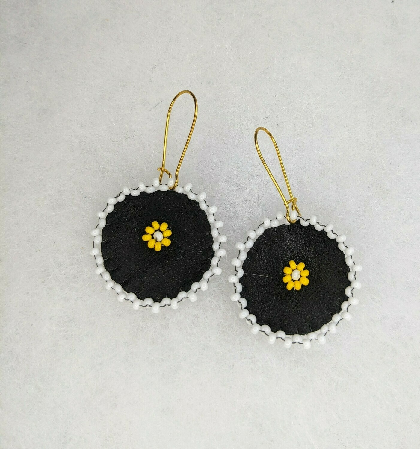 Beaded Yellow Floral Leather Danglers