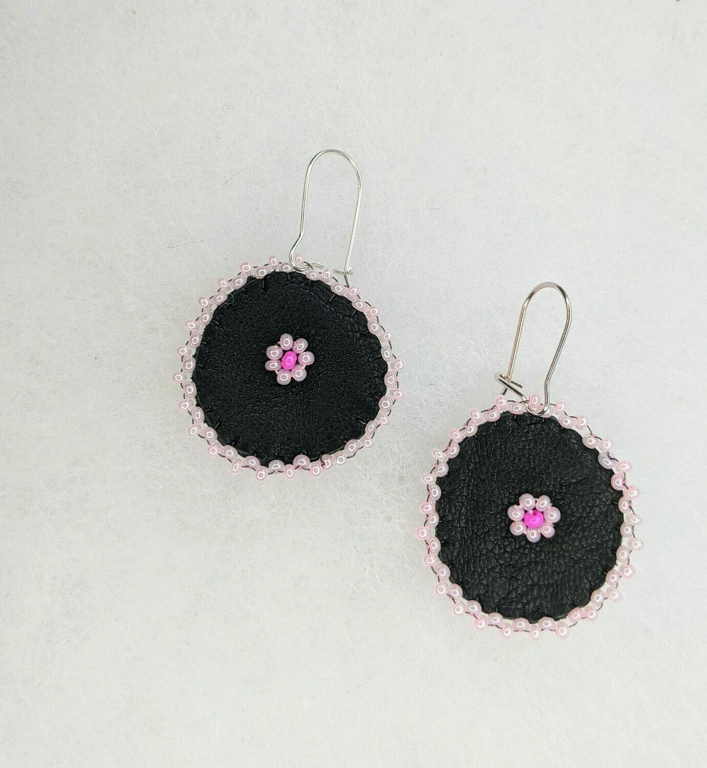 Beaded Pink Floral Leather Danglers