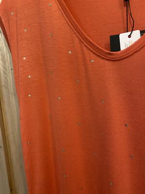 Tee shirt saumon foncé étoiles dorées PIECES