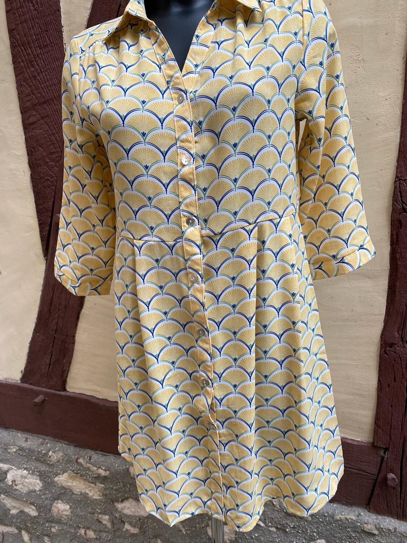 Robe chemise SARAH JoHN (ref2132) jaune
