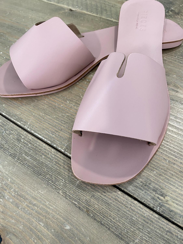 Sandales PIECES cuir rose