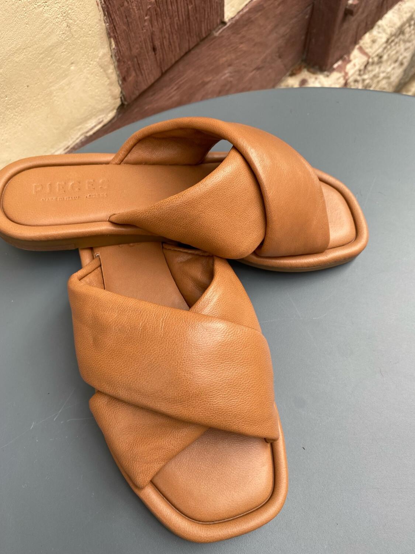 Sandales cuir PIECES camel