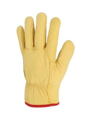 Gant tout fleur bovin jaune. Fourre acrylique.(5 paires)