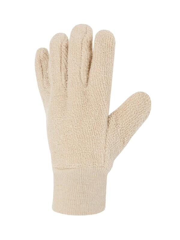 Gant coton bouclette moyenne. Poignet tricot.